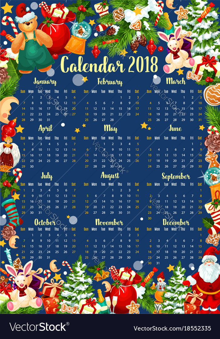 Christmas Calendar Template Of 2018 New Year Vector Image