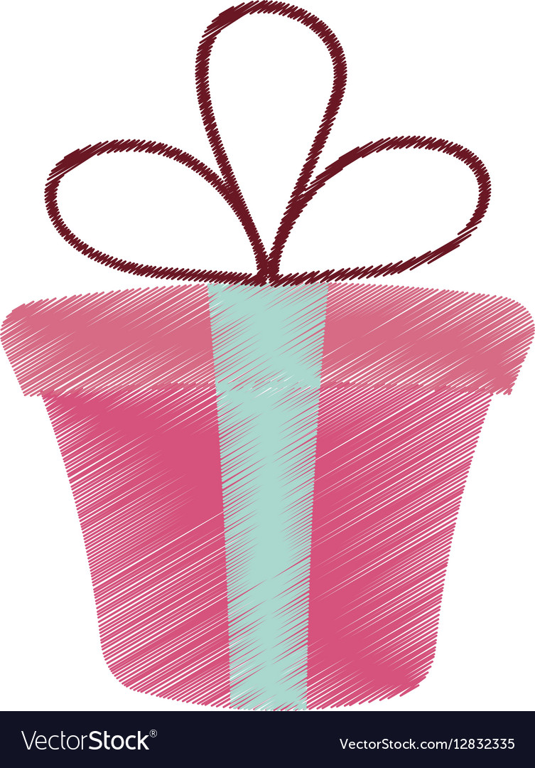 Drawing Pink Gift Box Present Ribbon Valentine Day