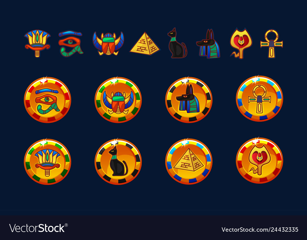 Egypt golden coins and set icons isolated
