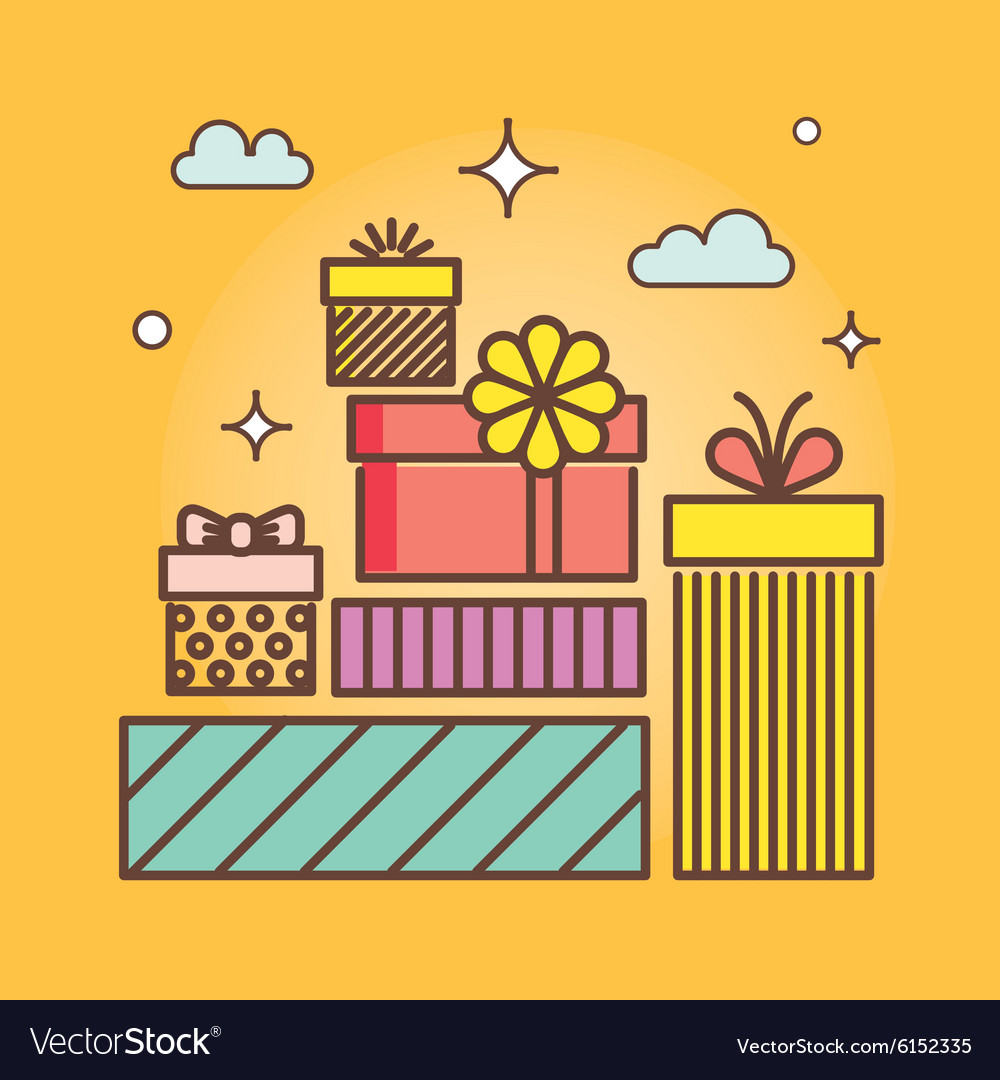 Gifts outline icons set for celebrating card