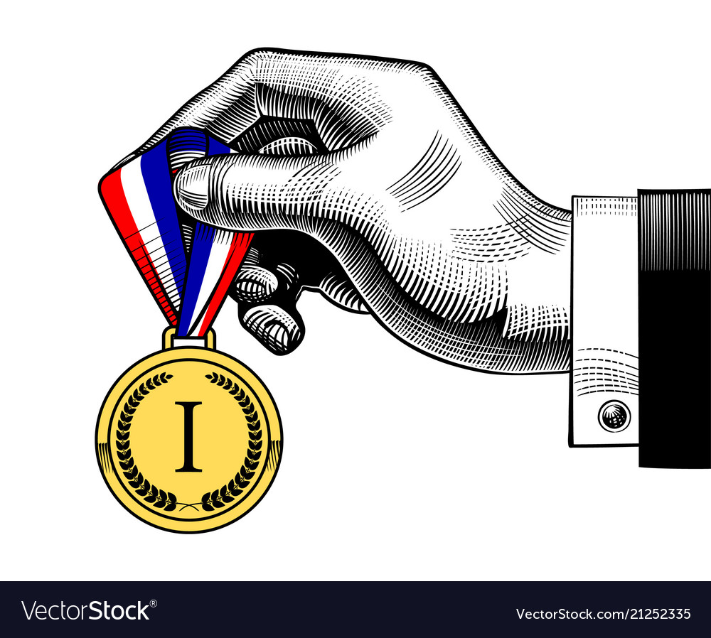 Hand holding an award medal with blue white red