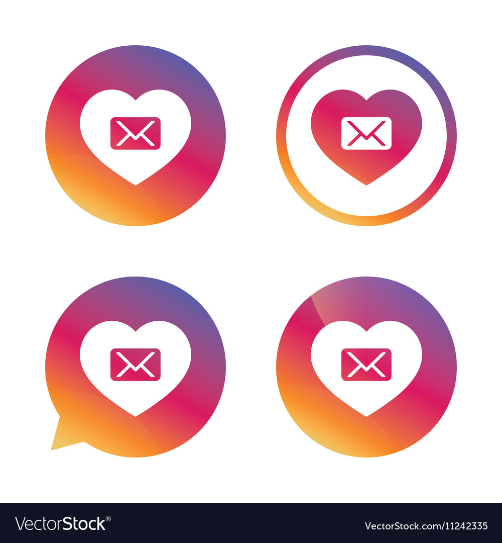 Love Mail Icon Envelope Symbol Message Sign Vector Image