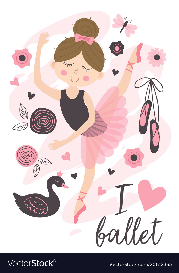 Poster with beautiful ballerina girl