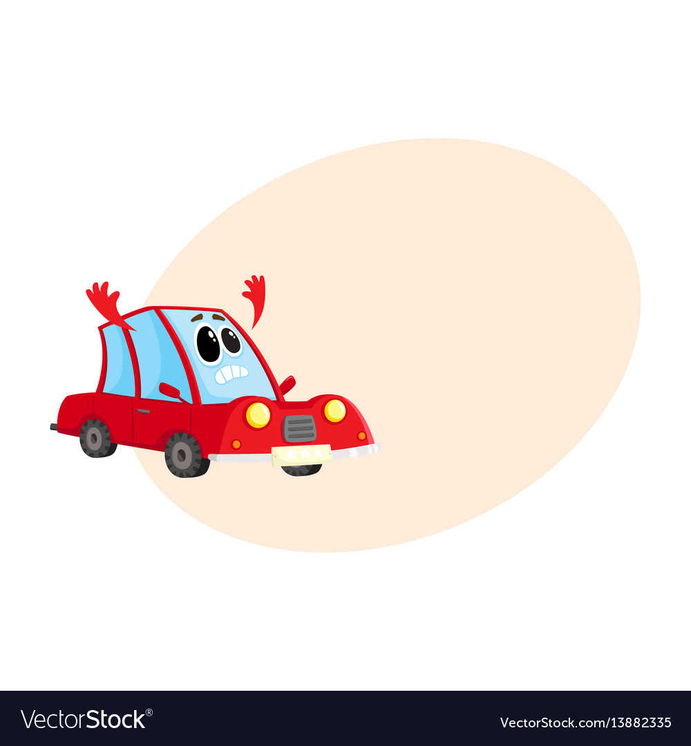 Red car auto character flinging up arms in dismay