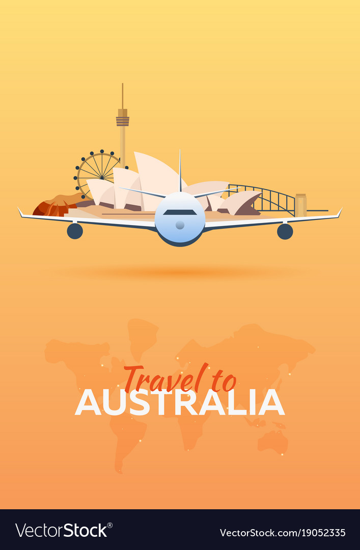 Travel to australia airplane with attractions vector image