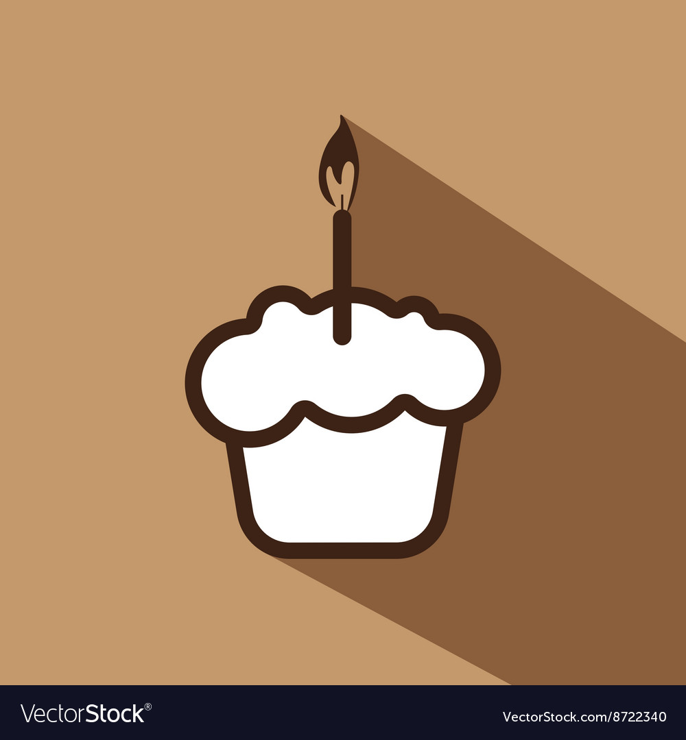 Card with a cream cake with a burning candle over