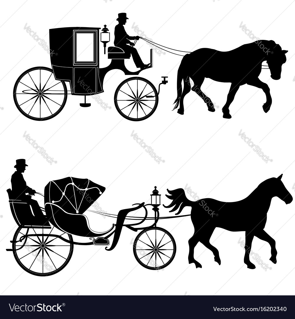 Carriage with horse hansom-cab set