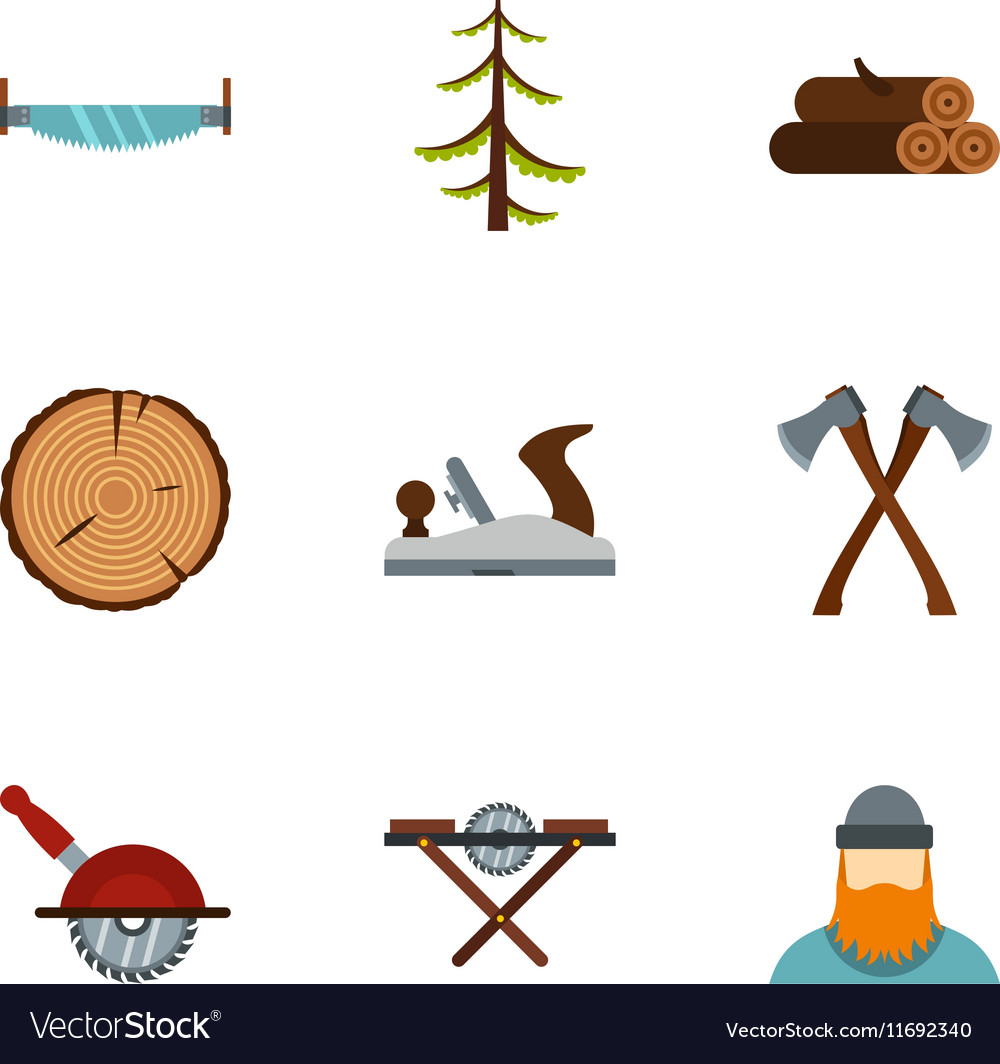 Cutting Down Trees Icons Set Flat Style Vector Image