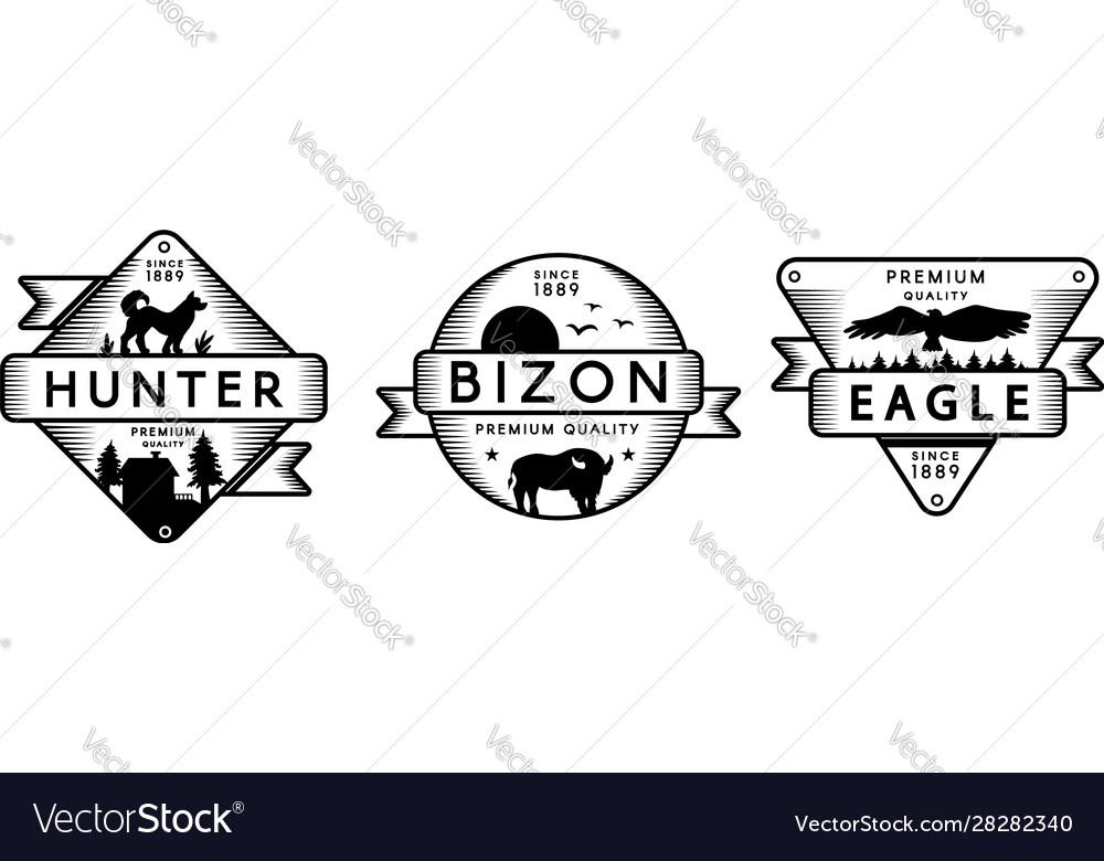 Forest wildlife logo templates set