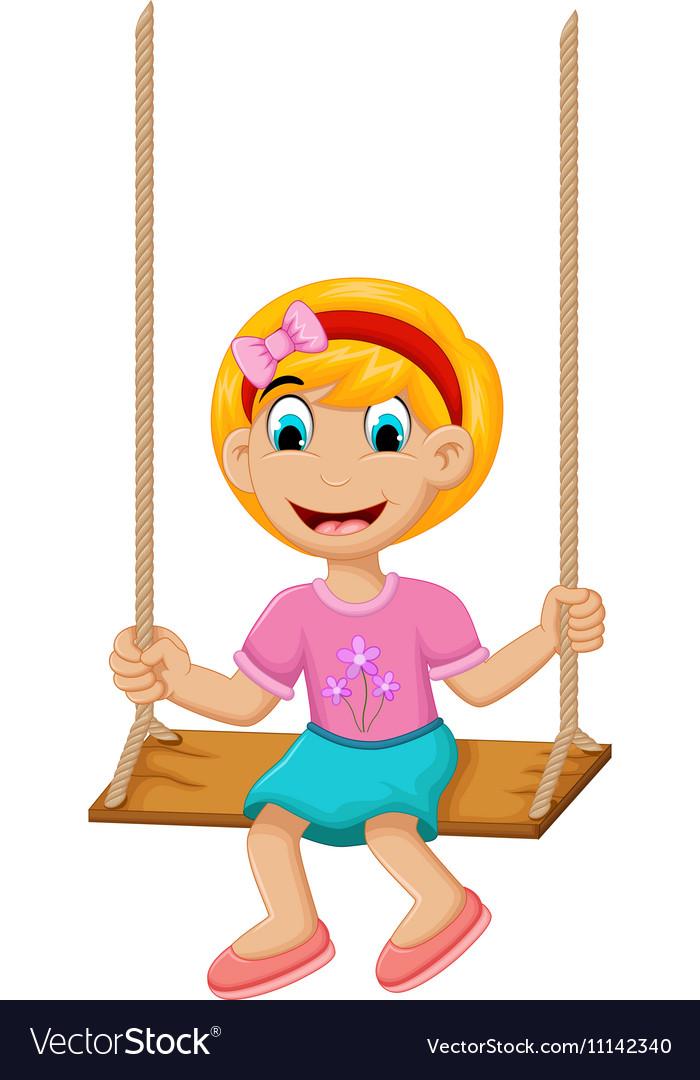 Funny Little girl plying swing