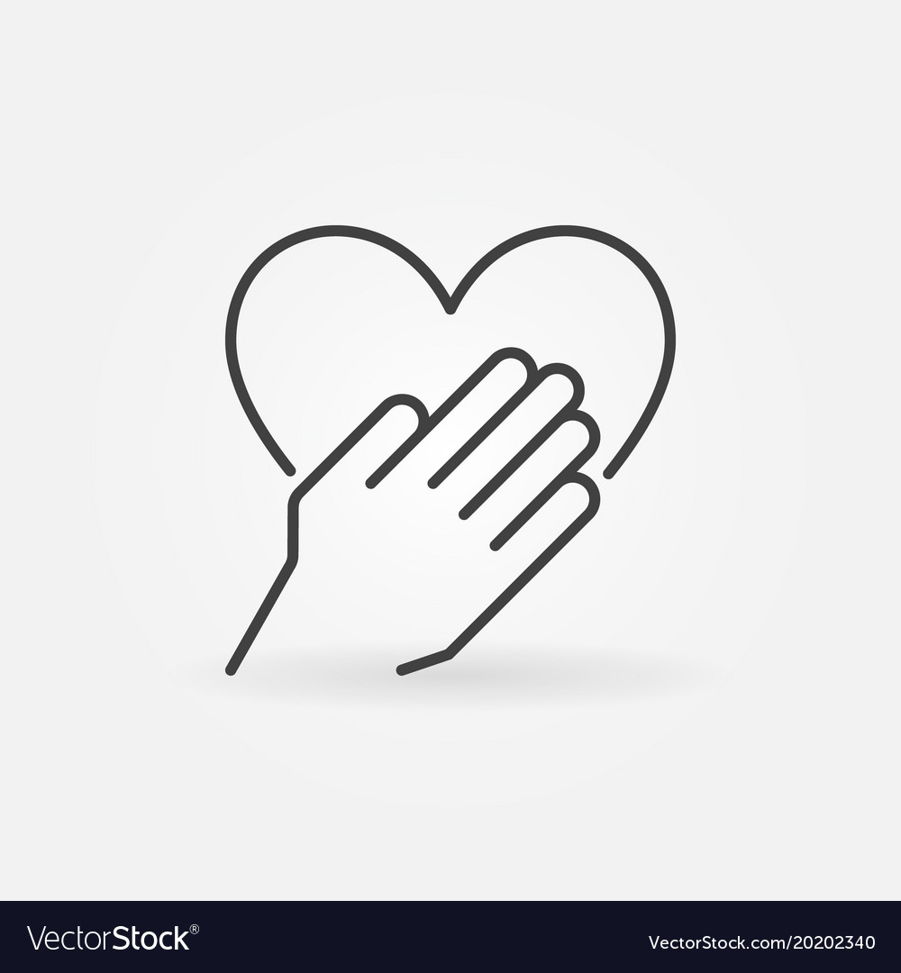 Hand with heart concept outline icon