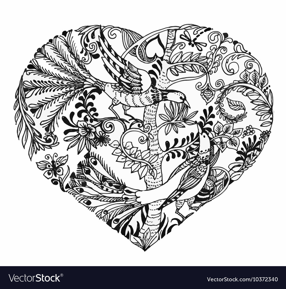 Heart shaped sketch of birds on twig vector image