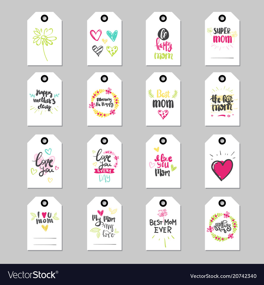 Mothers day lettering on tags set isolated