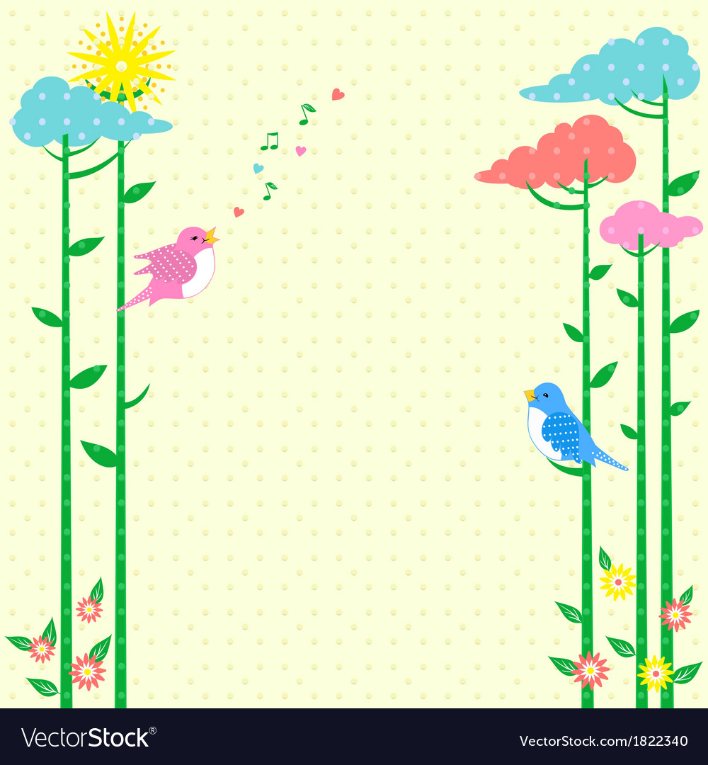 Retro background Greeting Card with birds vector image