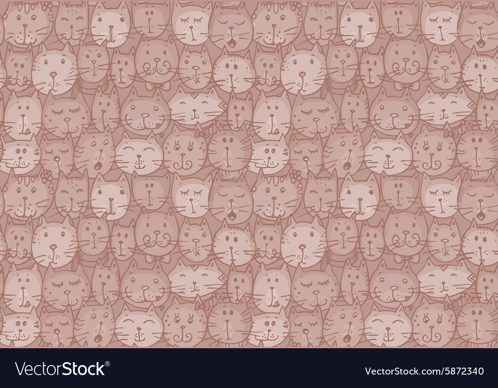 Seamless pattern with cats faces