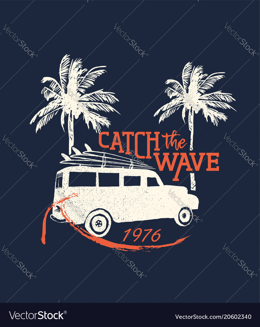 Surf beach vacation in retro surf style for summer