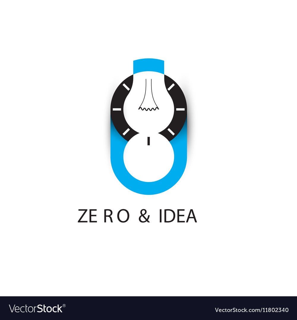 Zero number icon and light bulb abstract logo