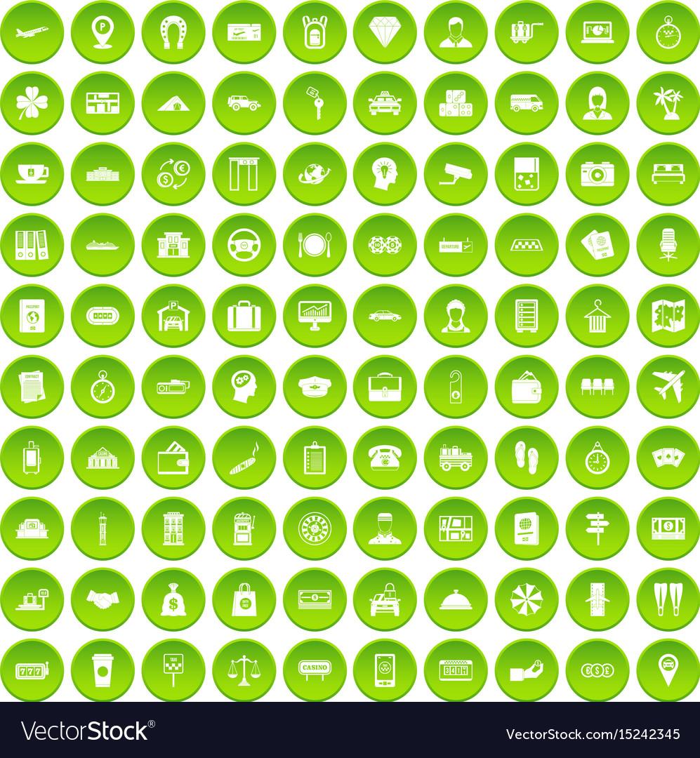 100 paying money icons set green circle