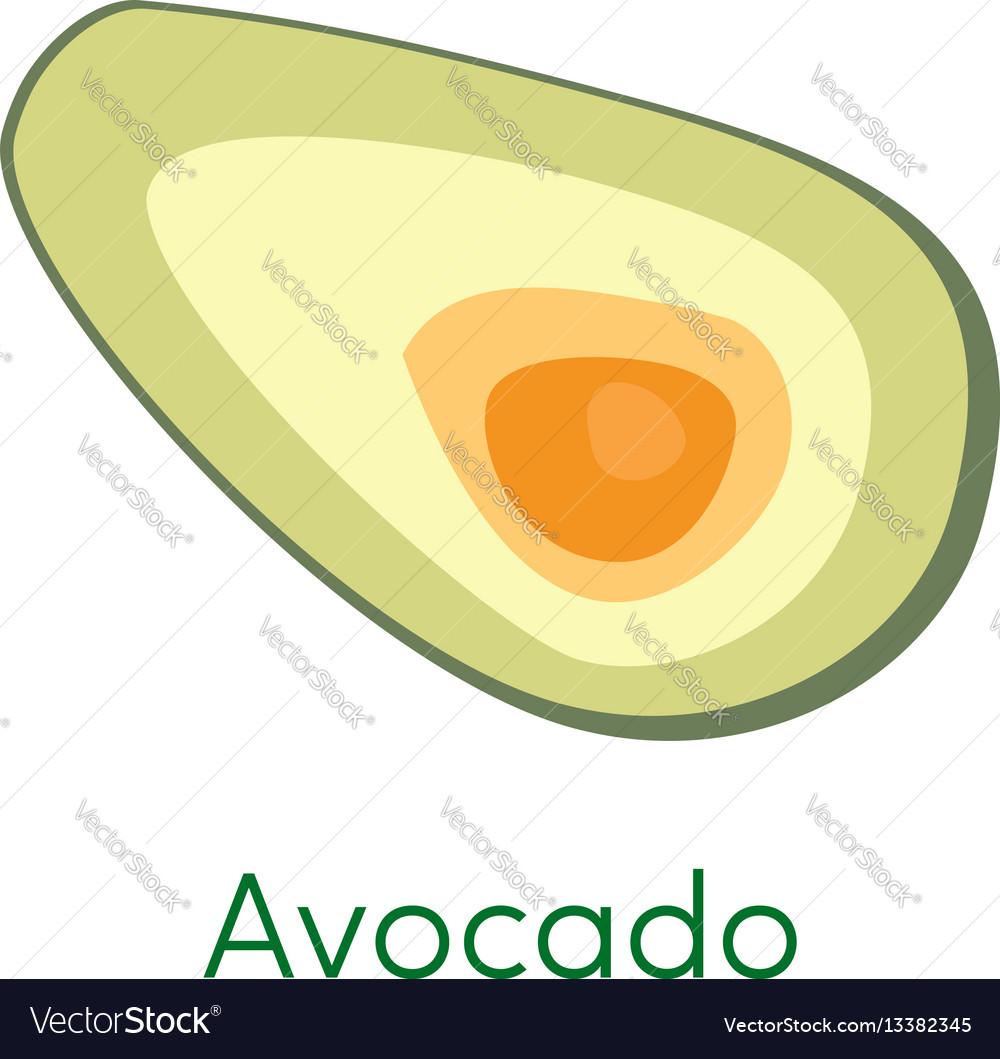Avocado pieces slice isolated on white background