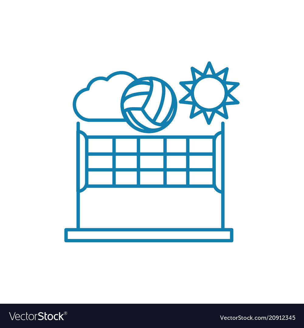 Beach volleyball linear icon concept beach vector image
