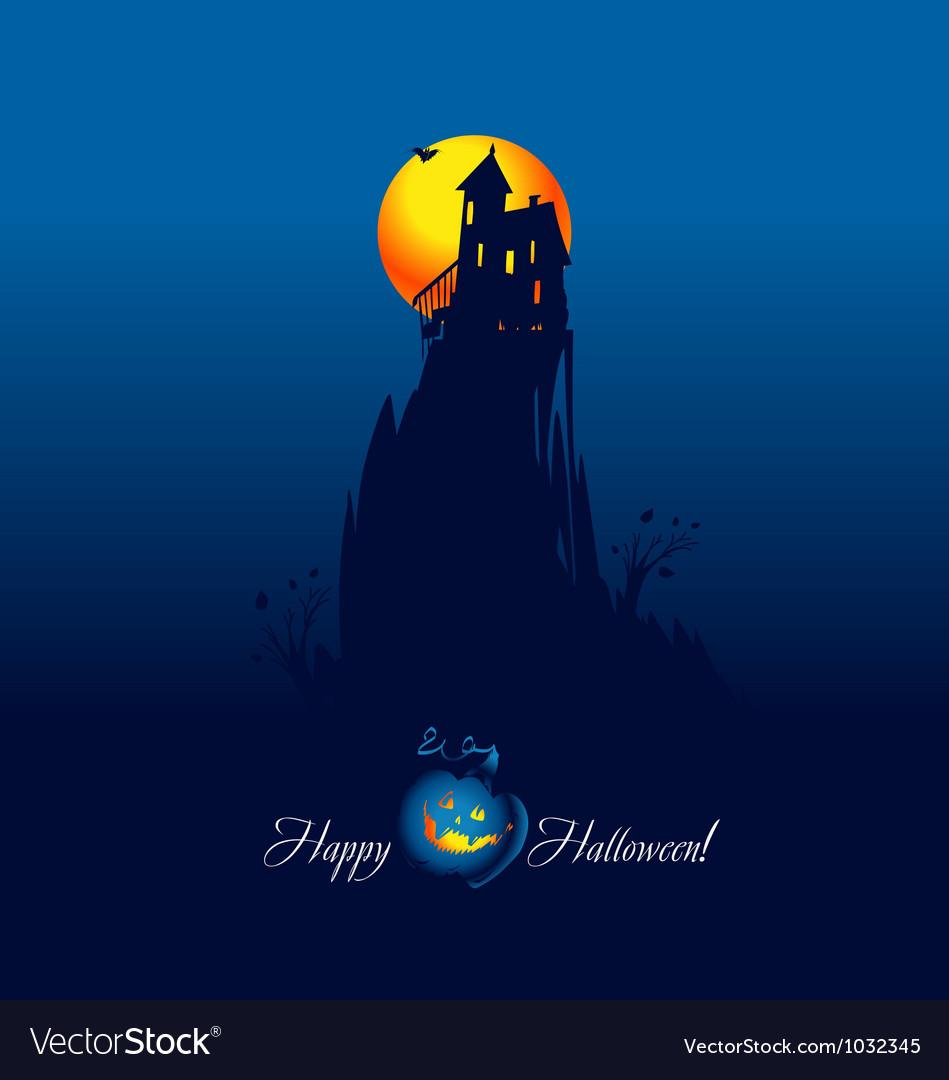 Card Halloween Mountain Pumpkin Royalty Free Vector Image