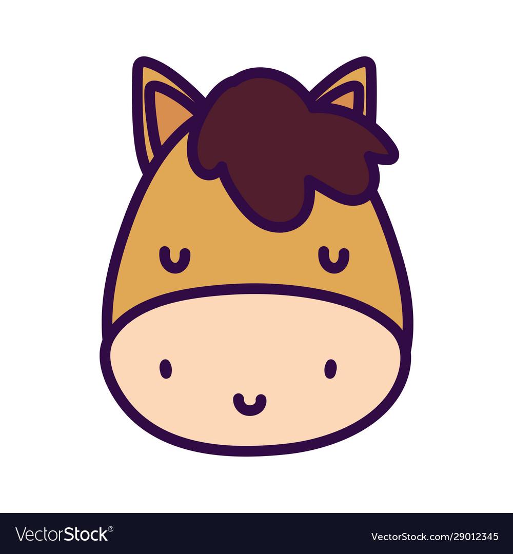Cute Horse Face Livestock Farm Animal Cartoon Vector Image