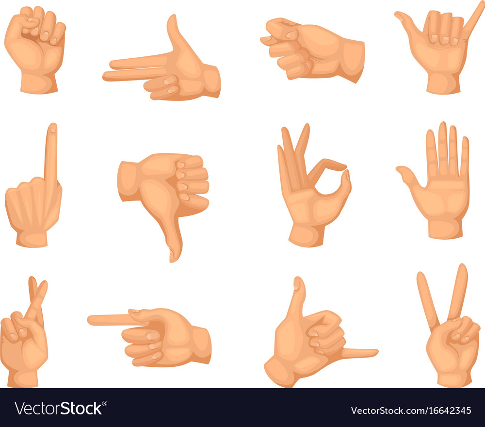 different hands gestures pictures in royalty free vector