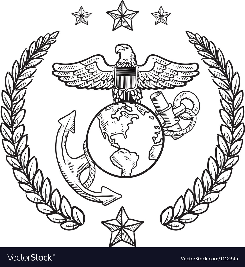 Doodle us military wreath marines