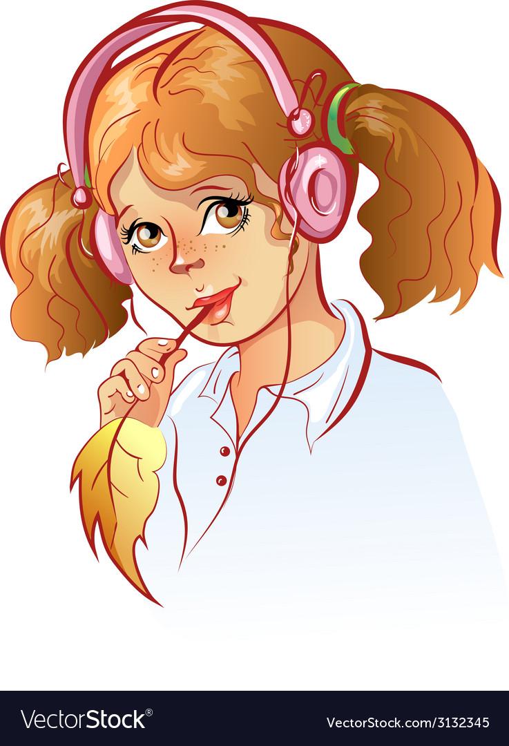Girl in headphones vector image