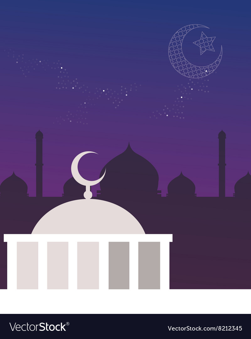 Mosque dome night sky crescent and stars islam vector image