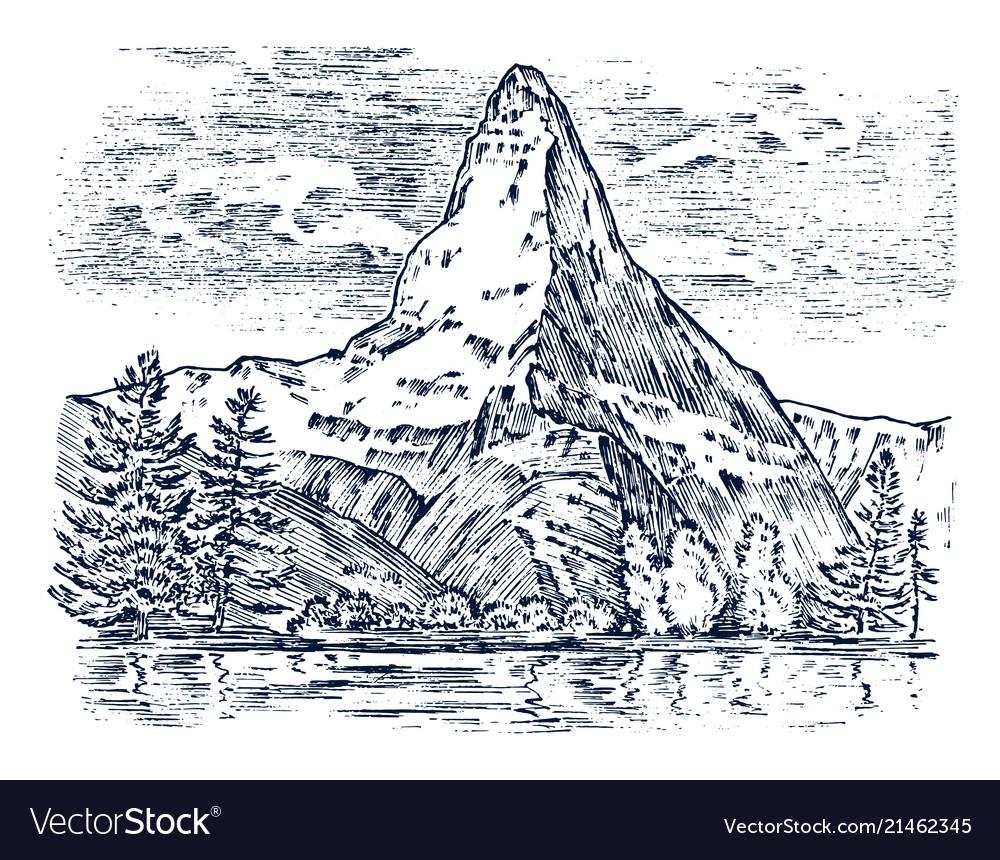Mountains peaks vintage matterhorn old looking