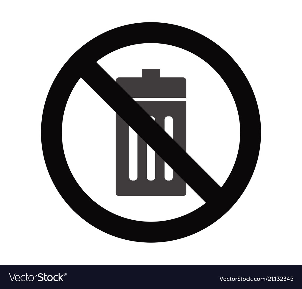 No Trash Bin Royalty Free Vector Image Vectorstock