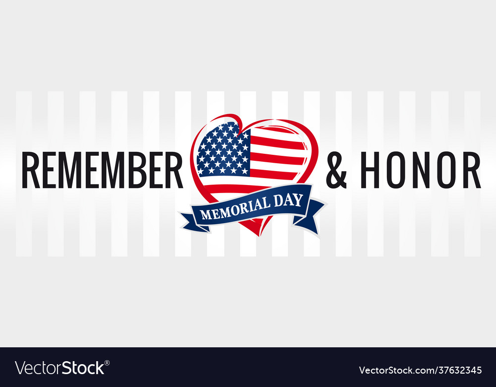 Remember and honor memorial day usa heart poster