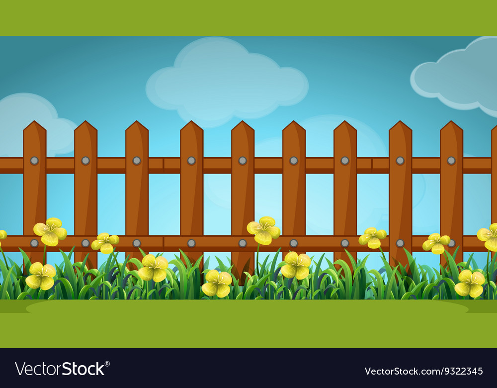 Scene with wooden fence and flowers vector image
