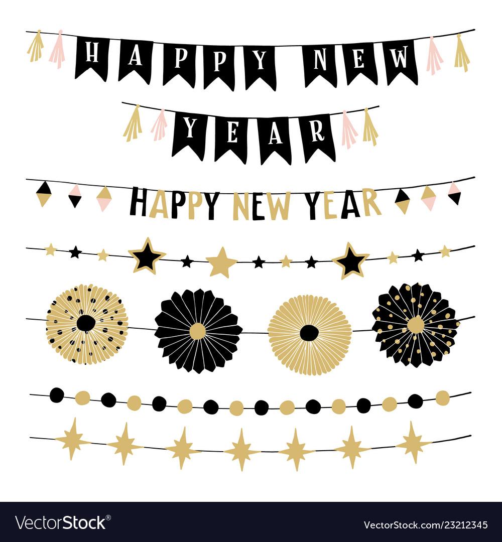 Set birthday or new year decorative borders