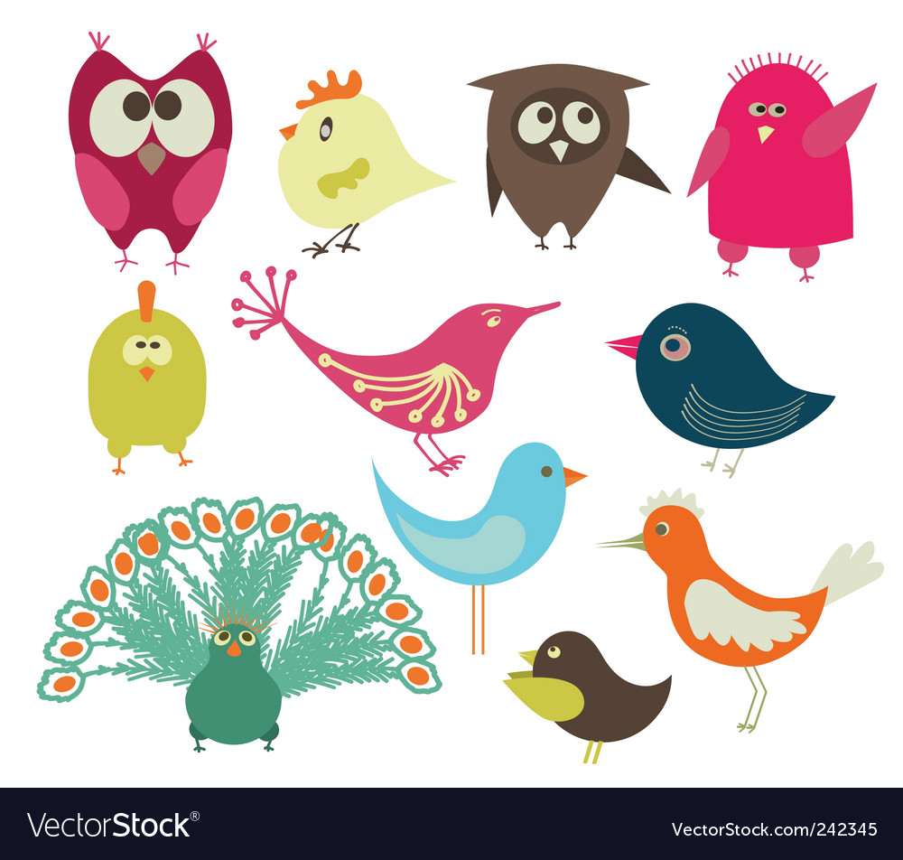Set of abstract birds vector image