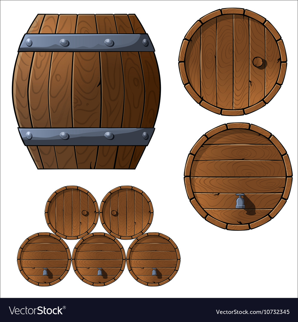 Set of wooden barrels and boxes