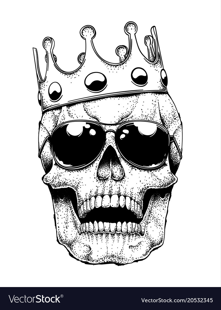 Skull in a crown vector image
