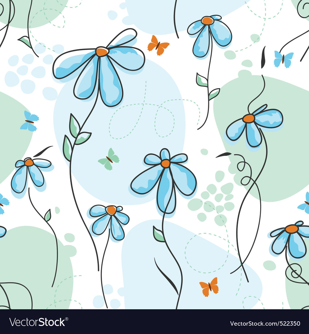 Cute nature seamless pattern vector image