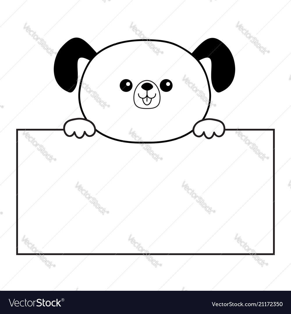dog sad head face silhouette hanging on paper vector image