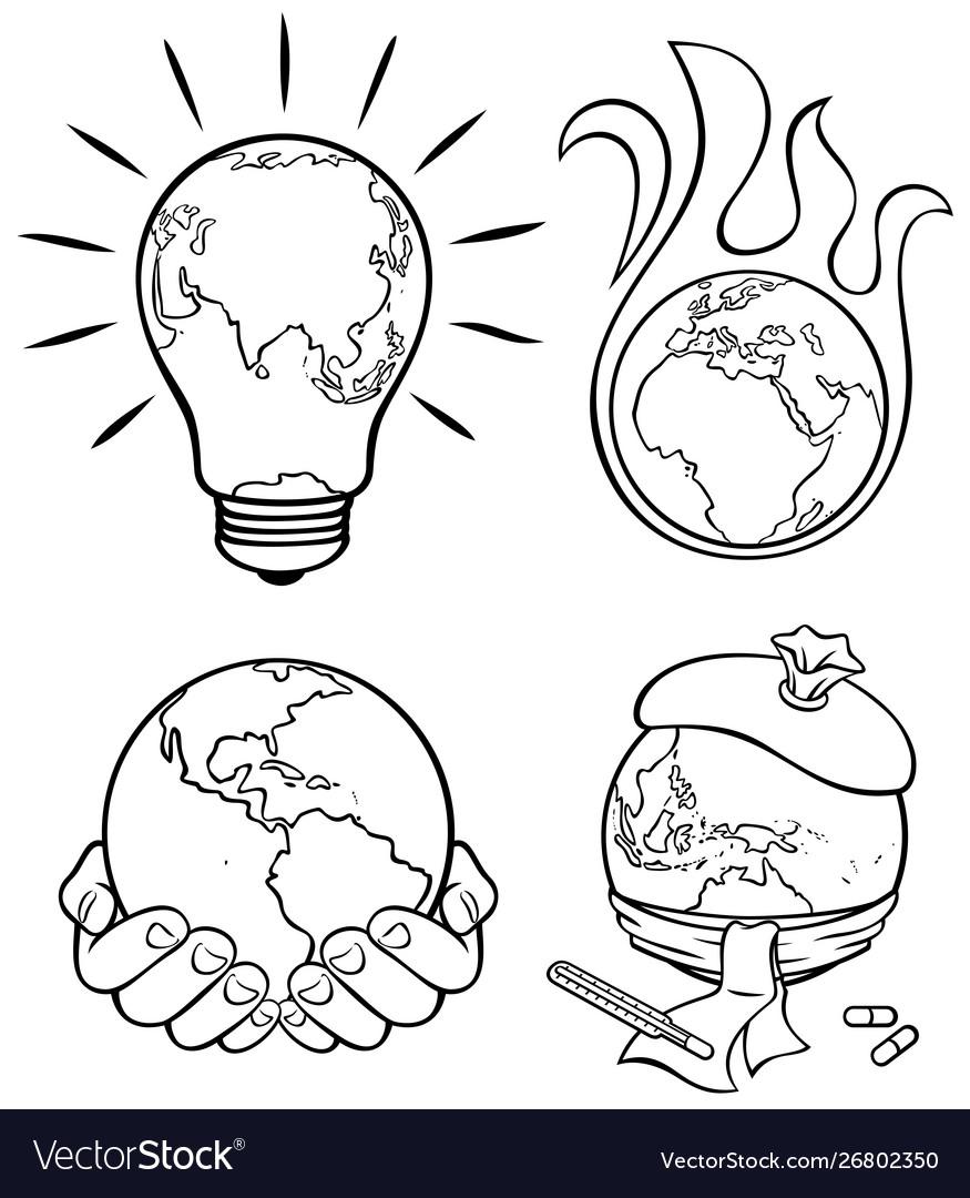 Ecology concepts 3 line art
