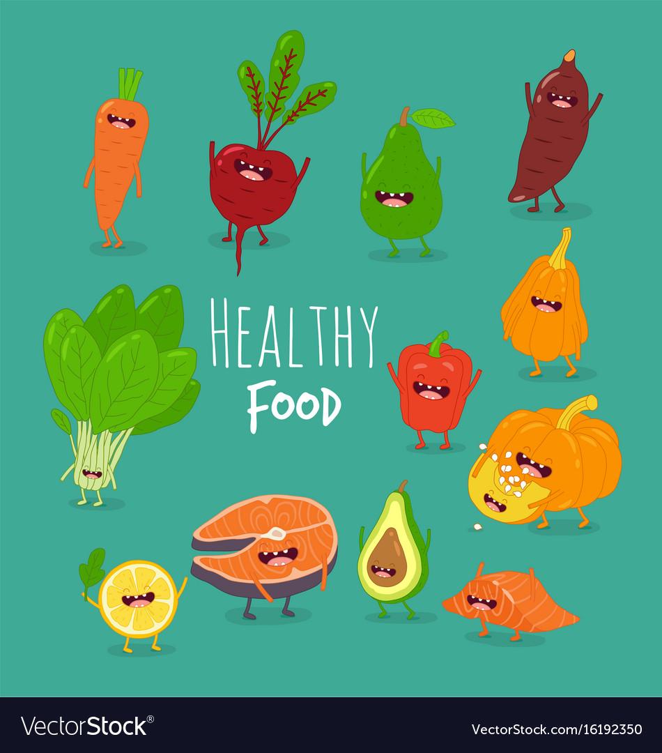 Funny cartoon vegetable healthy food