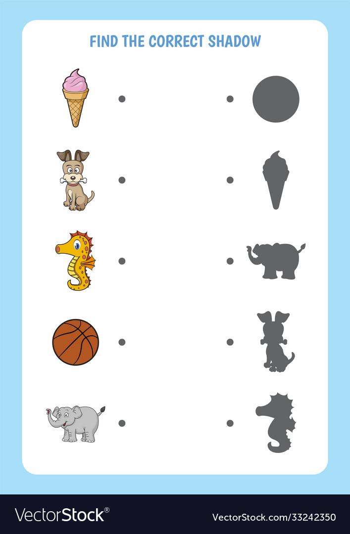 Funny cartoon worksheet find correct shadow