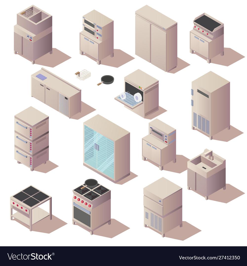 Isometric kitchen restaurant appliances furniture