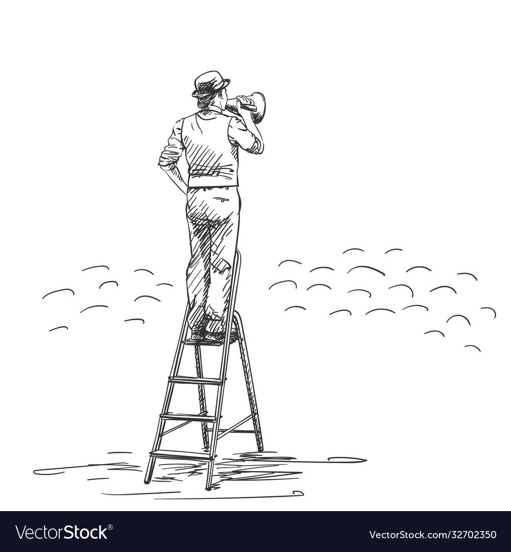 Man in bowler hat speaking through megaphone