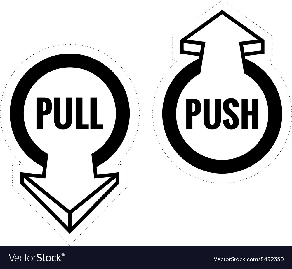 Pull and push door sign set Monochrome black color
