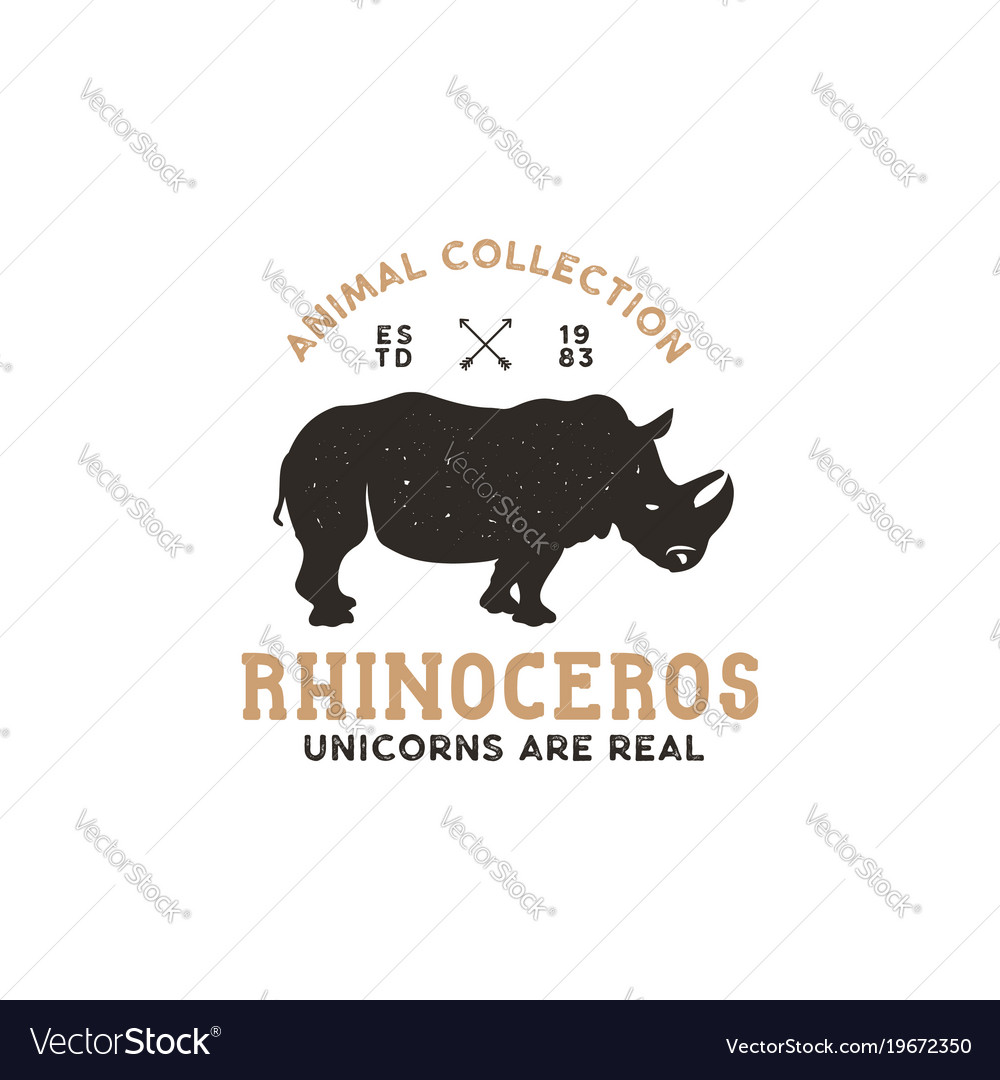 rhino wild animal logo template stock royalty free vector