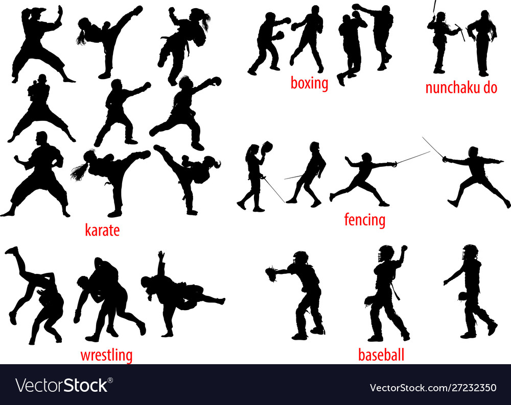 Sport silhouettes fight