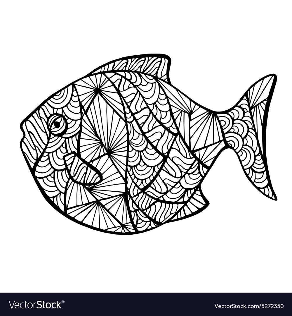 Stylized fish zentangle vector image