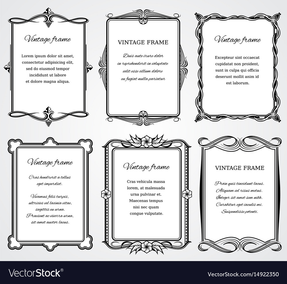 Vintage victorian border frames set for vector image